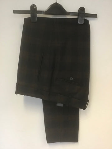 JIGSAW BLACK,DARK BLUE & BROWN CHECK TROUSERS SIZE 12