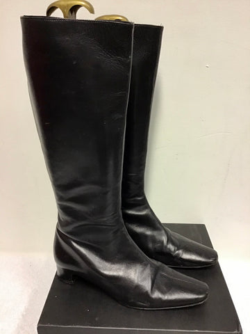 LK BENNETT BLACK LEATHER KNEE LENGTH BOOTS SIZE 7.5/41