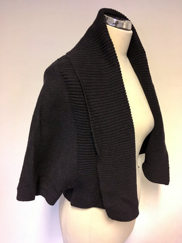 OSKA DARK BLUE WOOL CROP SHORT SLEEVE CARDIGAN SIZE 2 REGULAR UK 12/14