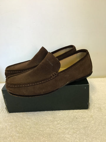 BARBOUR DARK BROWN SUEDE LOAFERS SIZE 9/43