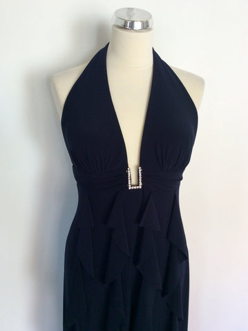 BETSY & ADAM BYLINDA BERNELL NAVY BLUE LONG FRILL TRIM EVENING DRESS SIZE 10