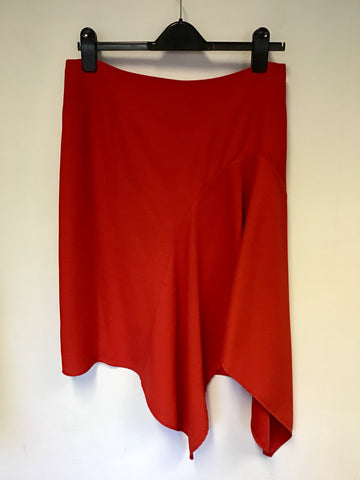 COAST RED ASYMMETRIC HEMLINE SKIRT SIZE 14