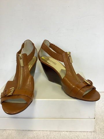 MICHAEL KORS TAN BROWN LEATHER WEDGE HEEL SANDALS