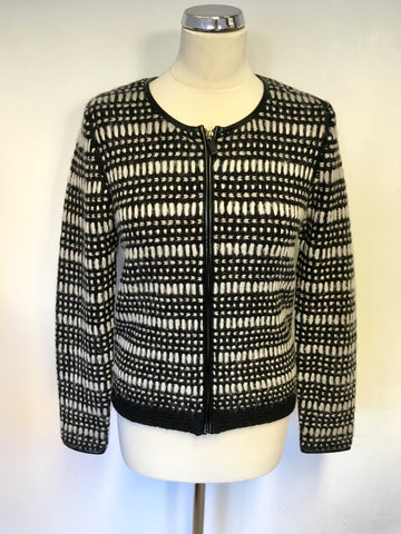 BRAND NEW MARKS & SPENCER BLACK & CREAM KNIT ZIP UP CARDIGAN /JACKET SIZE 10