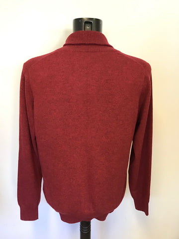 BRAND NEW PURE COLLECTION DEEP RED /GROUSE COLLARED 100% CASHMERE JUMPER SIZE L
