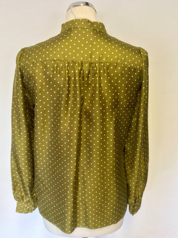 JIGSAW OLIVE GREEN SPOTTED SILK TIE BOW BLOUSE SIZE 12