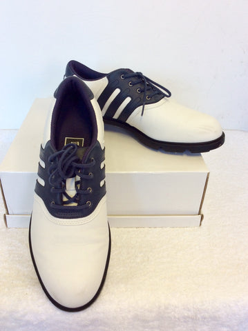 ADIDAS NAVY BLUE & WHITE LACE UP GOLF SHOES SIZE 7/40