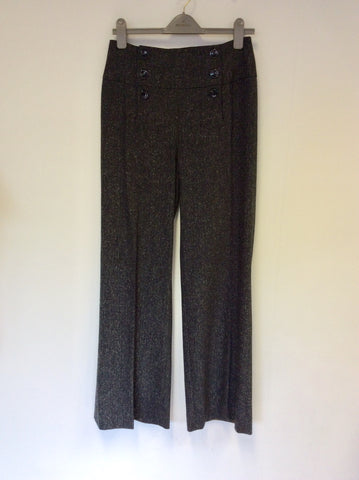 HOBBS DARK GREY MARL WOOL BLEND TROUSERS SIZE 10