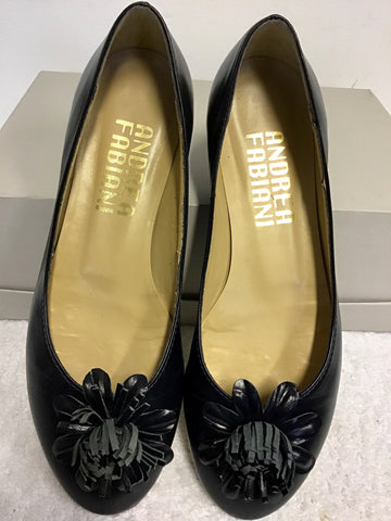 ANDREA FABIANI NAVY BLUE LEATHER FLOWER TRIM FLATS SIZE 3.5/36