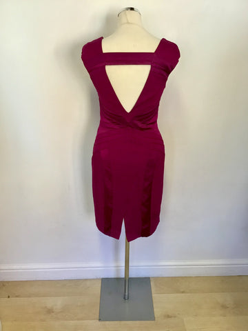 KAREN MILLEN WINE SATIN PANEL TRIM PENCIL DRESS SIZE 10