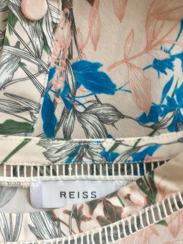 REISS INDIA PINK FLORAL PRINT SILK TOP SIZE 10