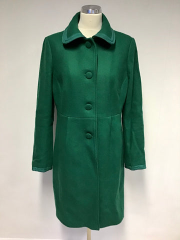 BODEN EMERALD GREEN WOOL BLEND KNEE LENGTH COAT SIZE 16