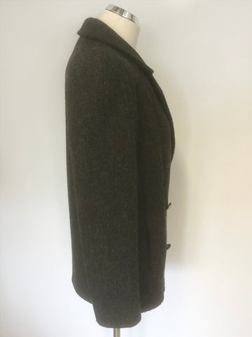 MULBERRY BLACK,GREY & BROWN TWEED WOOL DOUBLE BREASTED JACKET SIZE 8 FIT UK 10