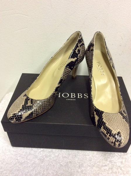 BRAND NEW HOBBS NEUTRAL & BLACK SNAKE PRINT ELIZABETH COURT SHOES SIZE 5/38
