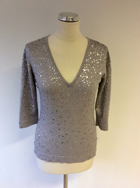 HOBBS SILVER GREY SEQUINNED V NECK 3/4 SLEEVE JUMPER SIZE 12