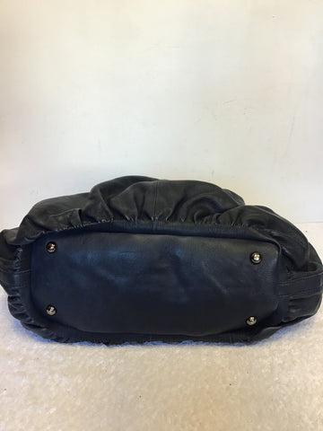 NICOLE FARHI NAVY BLUE LEATHER LARGE SHOULDER/ HAND BAG