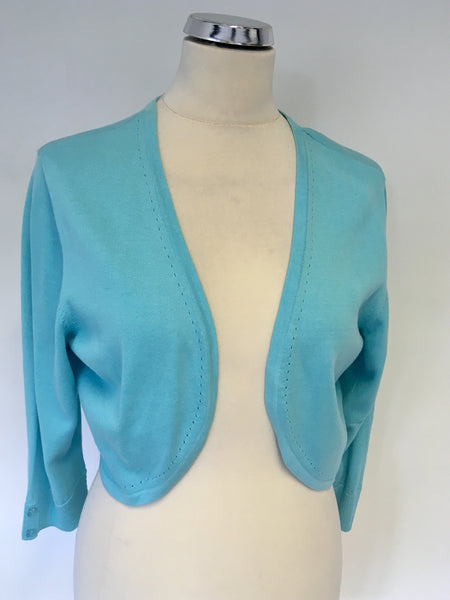 MONSOON TURQOUISE 3/4 SLEEVE BOLERO CARDIGAN SIZE L