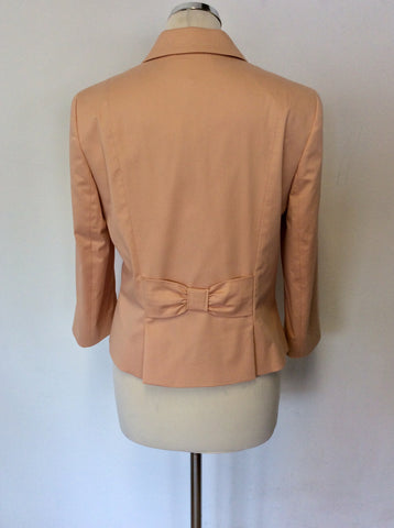 BRAND NEW JAEGER APRICOT COTTON BOW TRIM JACKET SIZE 12