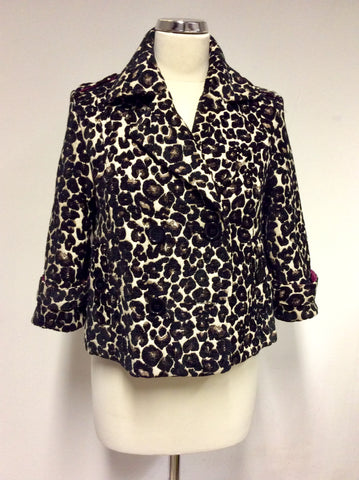 BLACK & BROWN LEOPARD PRINT JACKET SIZE 10