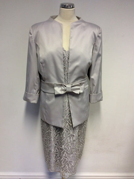 BRAND NEW GINA BACCONI SILVER GREY LACE DRESS & BELTED JACKET SIZE 20