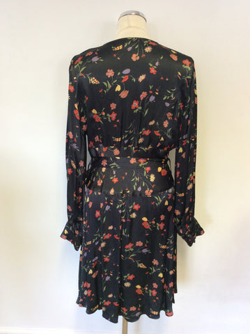 GHOST BLACK FLORAL PRINT LONG SLEEVE DRESS SIZE L