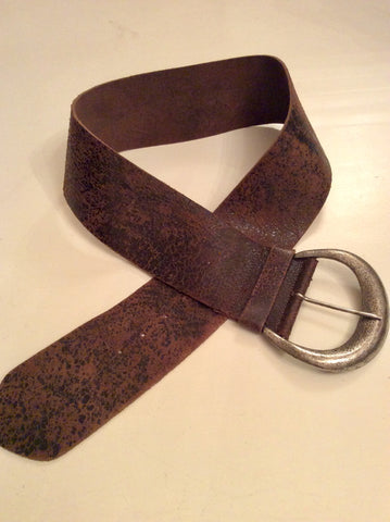 JIGSAW ANTIQUE BROWN WIDE LEATHER SILVER BUCKLE BELT SIZE L