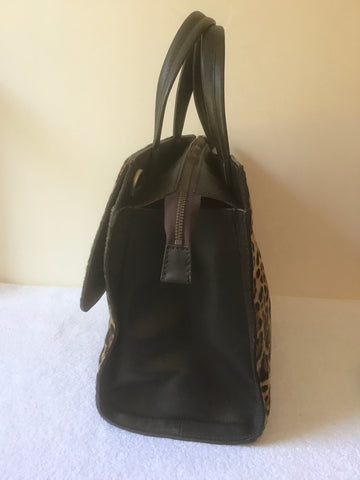BODEN DARK BROWN LEATHER & LEOPARD PRINT COW HIDE TOTE/ SHOULDER BAG