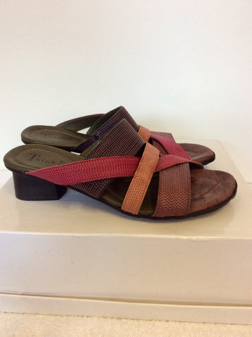 BRAND NEW THINK PINK,PURPLE & PLUM LEATHER SLIP ON MULE SANDALS SIZE 6/39
