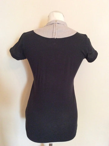 PAUL SMITH BLACK T SHIRT WITH STRIPE SHIRT FRONT SIZE M