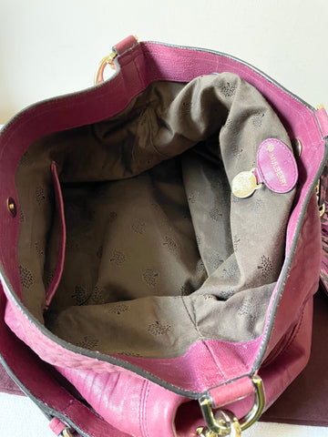 MULBERRY DEEP PINK LARGE LEATHER GRETA HOBO SHOULDER BAG