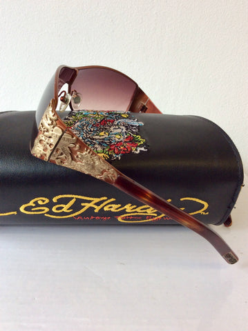 ED HARDY BROWN TORTOISESHELL EMBELISHED SIDE SUNGLASSES