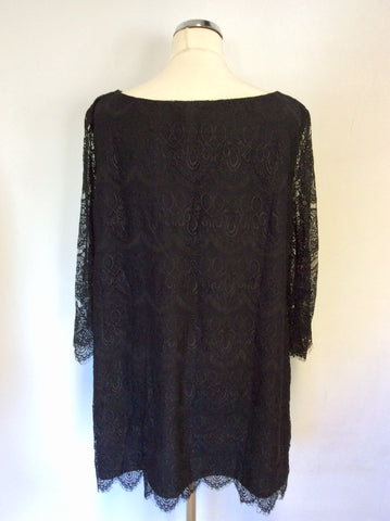 MONSOON BLACK LACE SHIFT DRESS SIZE 18