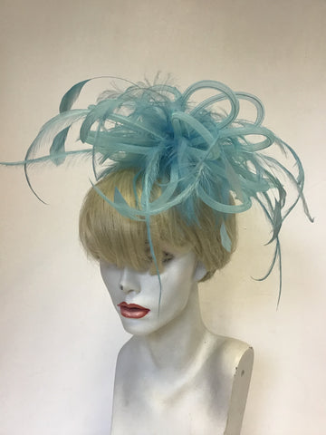TAILOR MADE TURQUOISE FLOATING FEATHERS & MESH COILS FASCINATOR