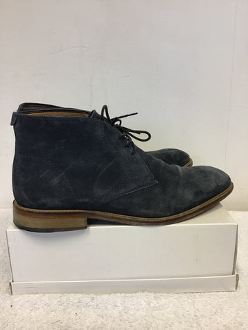 JOHN LEWIS DARK BLUE SUEDE CHUMBLEY LACE UP CHUKKA BOOTS SIZE 9/43