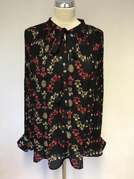 BIBA BLACK FLORAL PRINT PLEATED TIE NECK BLOUSE SIZE 18