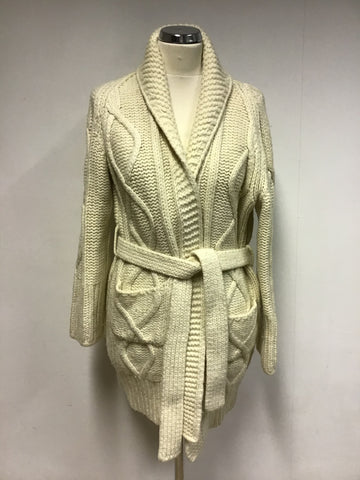 BURBERRY CREAM CABLE KNIT WOOL TIE WAIST CARDIGAN SIZE L
