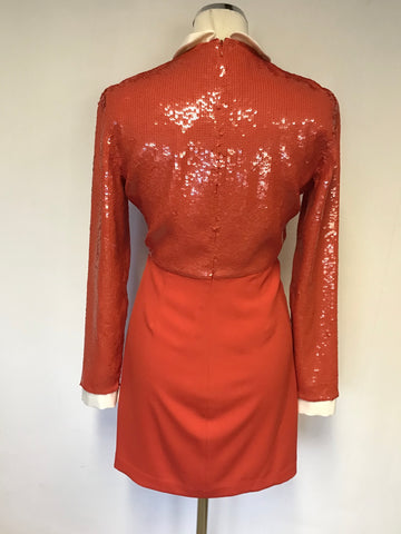 REISS ALISON RED SEQUINNED TOP LONG SLEEVE MINI DRESS SIZE 10