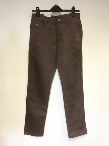 BRAND NEW CALVIN KLEIN BROWN COTTON & LINEN STRAIGHT LEG JEANS SIZE 28W / LEG 32