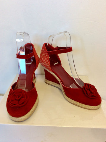BRAND NEW LK BENNETT RED SUEDE ESPERDRILLE WEDGE HEEL SANDALS SIZE 5/38