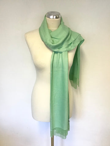 COAST GREEN BEADED TASSEL ENDED SCARF/ WRAP