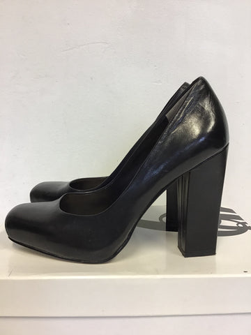 NINE WEST BLACK LEATHER SQUARE TOE BLOCK HEELS SIZE 5/38