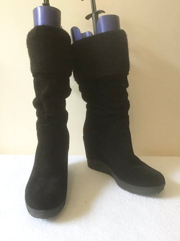 BRAND NEW DUNE BLACK SUEDE CALF LENGTH WEDGE HEEL BOOTS SIZE 7/40