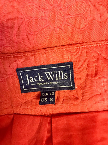 JACK WILLS RED FLIPPY PLEATED MINI SKIRT SIZE 12