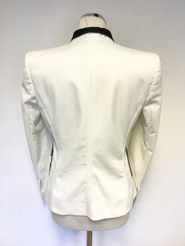 CAVALLI CLASS WHITE & BLACK TRIM EVENING / DINNER JACKET SIZE 12