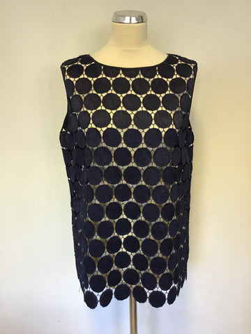 JAEGER NAVY BLUE CUT OUT CIRCLE DESIGN SLEEVELESS TOP SIZE 14