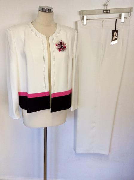 BRAND NEW GOLD BY MICHAEL H WHITE,PINK & BLACK JACKET & TROUSER SUIT SIZE 20