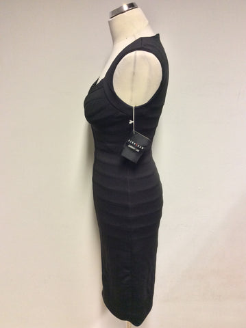 BRAND NEW SARA BERNSHAW BLACK DIAMANTÉ ZIP TRIM BODYCON OCCASION DRESS SIZE 8