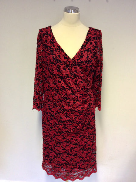 BRAND NEW GINA BACCONI BLACK & RED LACE SPECIAL OCCASION DRESS SIZE 18
