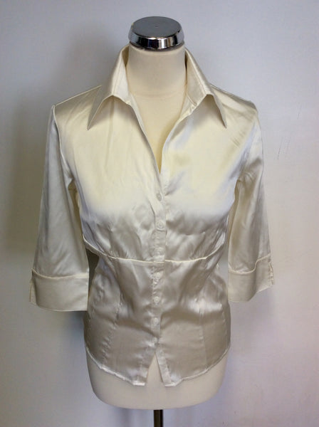 HOBBS IVORY SILK BLOUSE SIZE 10