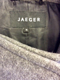 JAEGER GREY DOUBLE BREASTED WOOL COAT SIZE 16